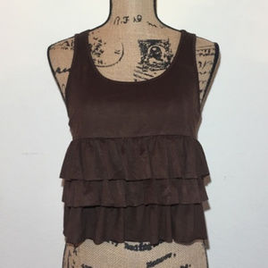 Forever 21 Faux Suede Ruffle Tank Top